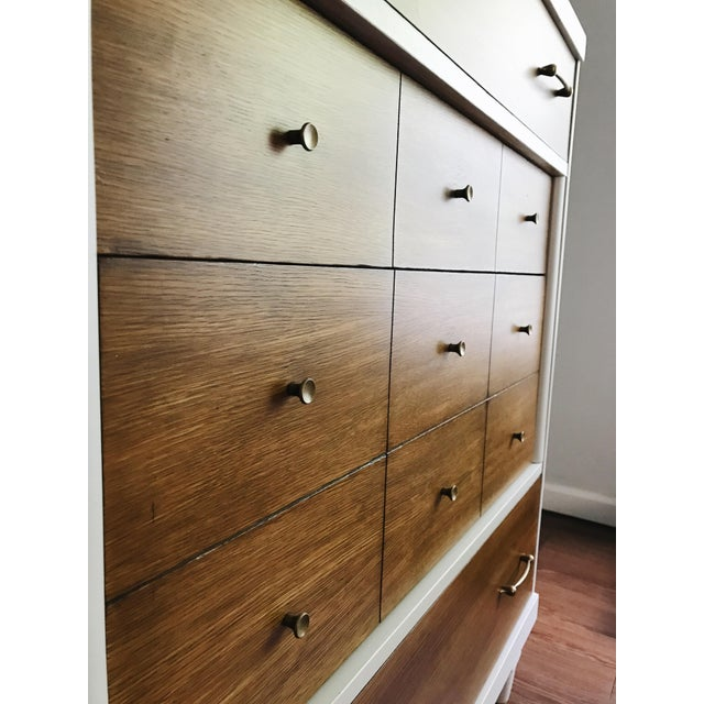 Two-Tone Mid-Century Modern Highboy Dresser For Sale - Image 11 of 11