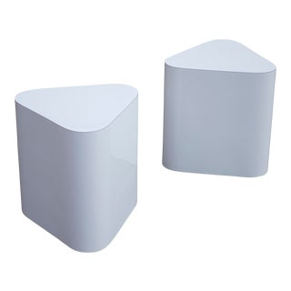 Triangular End Tables in White Laminate, Pair For Sale