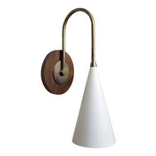 Blueprint Lighting 'Solana' Wall Mount Reading Lamp in Walnut, Brass and Enamel For Sale