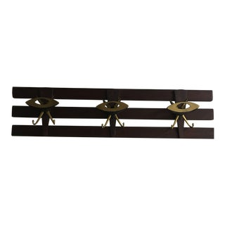 1960s Vintage Italian Wood Wall Rack For Sale