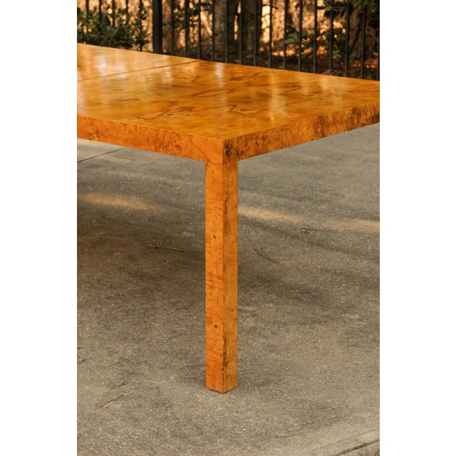 Directional Magnificent Restored Butterfly Patterned Olivewood Dining Table by Milo Baughman for Directional For Sale - Image 4 of 11
