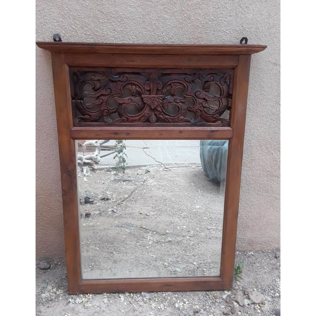 Brown Hand Carved Teak Wood Mirror For Sale - Image 8 of 8