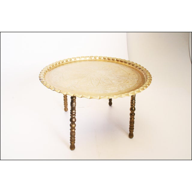 Vintage Moroccan Ornate Brass Charger Coffee Table - Image 4 of 11