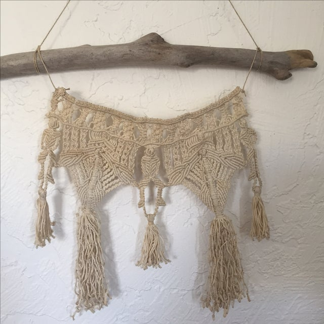 Vintage Macrame Wall Hanging on Driftwood - Image 3 of 5
