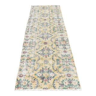 Vintage Turkish Oushak Hand Knotted Muted Yellow Green Runner Rug - 2′8″ × 8′4″