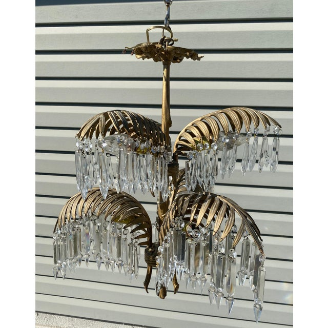 Bronze Early 20th Century French Bronze and Crystal Palm Chandelier For Sale - Image 8 of 8