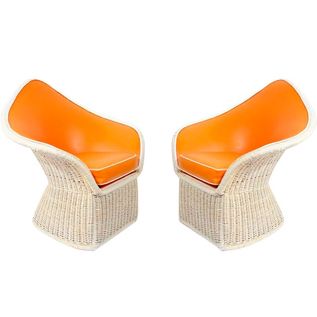 1970s Orange Spade Lounge Chairs - A Pair - Image 1 of 4