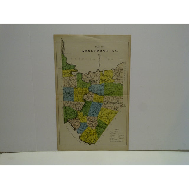 Paper Vintage Rand McNally 1911 Color Map of Armstrong County Pennsylvania For Sale - Image 7 of 7