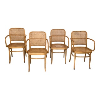 Vintage Mid Century Josef Hoffmann Bentwood and Cane Chairs- Set 4 For Sale