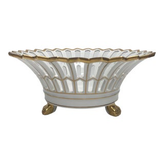 Old Paris Style Reticulated White & Gold Compote With Paw Feet For Sale