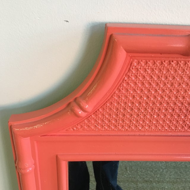 Asian Vintage Coral Faux Bamboo Pagoda Style Mirror For Sale - Image 3 of 10