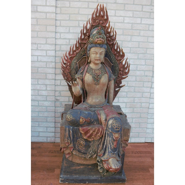 Mid 20th Century Chinese Quan-Yin Sitting Mandorla Statues - a Pair For Sale - Image 9 of 13