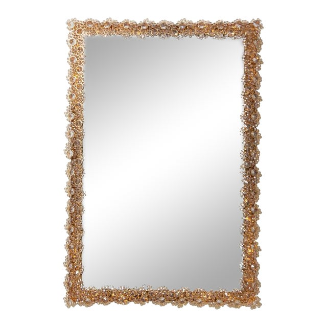 Outstanding Square Illuminated Palwa Crystal Glass Mirror, Model S100w For Sale