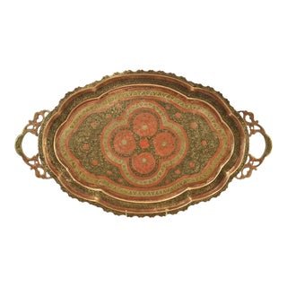 20th Century Moroccan Enameled Arabesque Oval Brass Tray For Sale