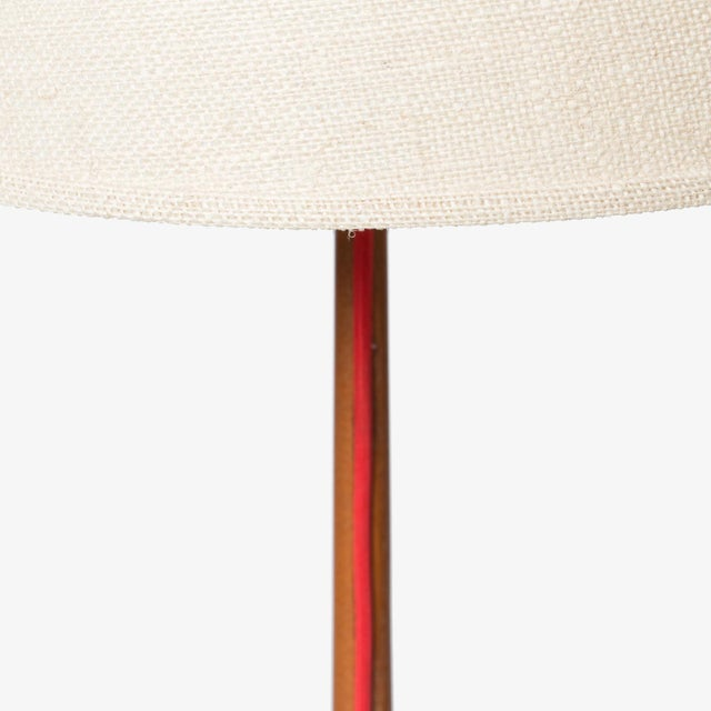 Modern Scandinavian oak floor lamp with exposed cord and burlap shade For Sale - Image 3 of 4