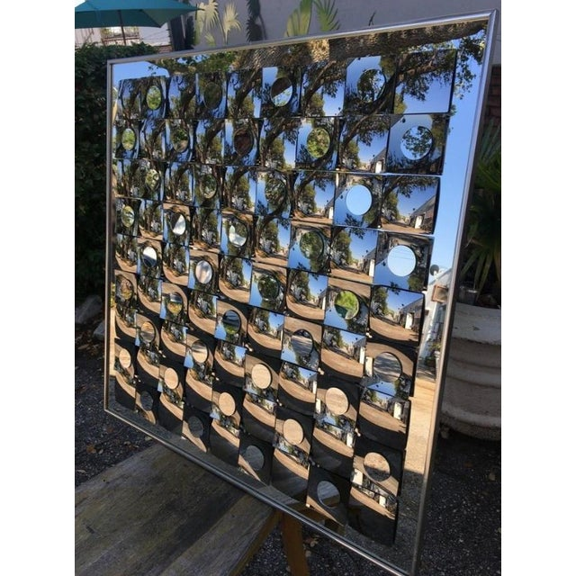 Hollywood Regency Hal Bienenfeld Op Art Circle Within Squares Mirror For Sale - Image 3 of 7