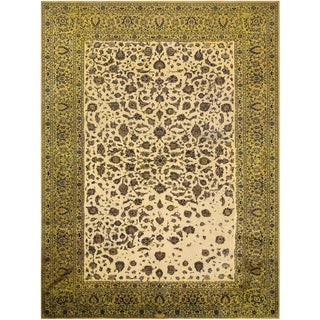Vintage Distressed Over Dyed Color Reform Kashan Lt. Green/Tan Wool Rug -9'10 X 13'0