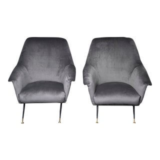 Italian Mid-Century Gray Velvet Upholstery Chairs With Metal Legs - a Pair For Sale