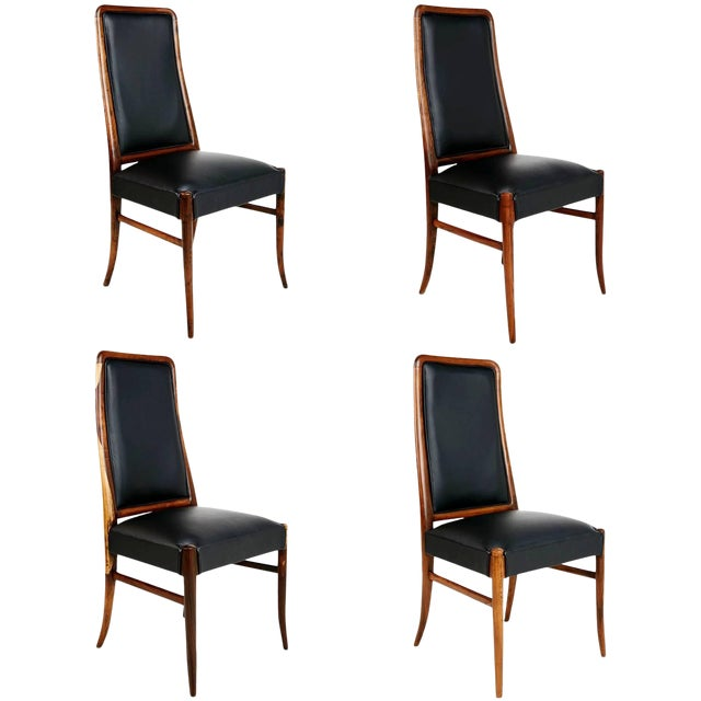 Exotic Jacaranda and Black Leather Dining Chairs, Set of Four, Brazil Circa 1970 For Sale