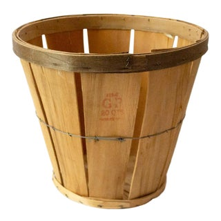 1950s French Country Wood Apple Basket For Sale