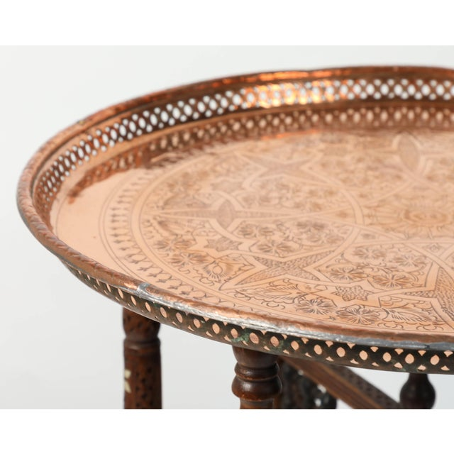 Early 20th Century Moroccan Copper Tray Table With Folding Base For Sale - Image 5 of 11