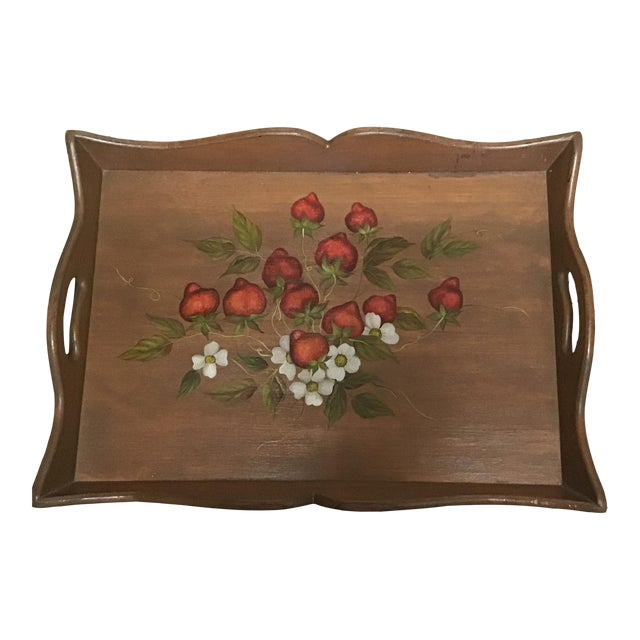 19th Century Large Hand Painted Wood Serving Tray Fruit Painted Serving Tray Decorative Serving Tray For Sale