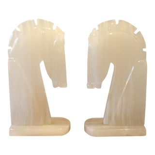 Vintage Onyx Horse Bookends - a Pair For Sale