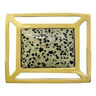 Addison Weeks Downing Knob, Brass & Dalmation Jasper For Sale