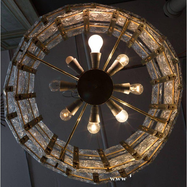 French Mid-Century Modern Brass Chandelier with Glass - Image 10 of 11