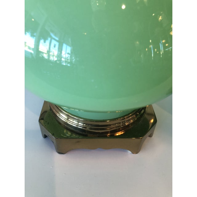 Asian Vintage Paul Hanson Green Jadeite Glass, Brass Table Lamps - A Pair For Sale - Image 3 of 10