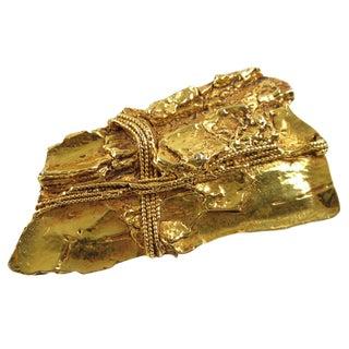 French Designer Kalinger Paris Modernist Gold Plated Resin Pin Brooch For Sale