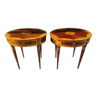 Kindel Furniture Company Mahogany Inlaid New York Empire Side Tables - Pair For Sale