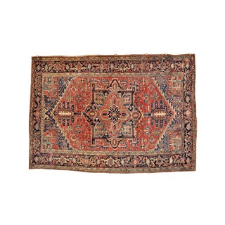 1930s Antique Persian Heriz Tribal Rug - 7′8″ × 10′11″