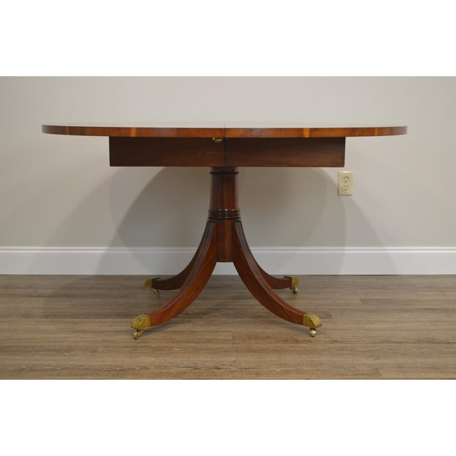 Hekman Flame Mahogany Yew Wood Banded Single Pedestal Dining Table For Sale - Image 12 of 13