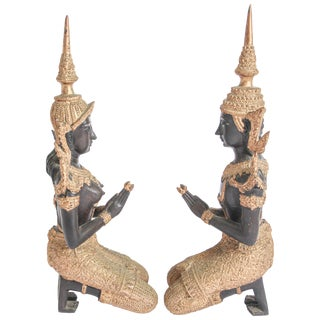 1950's Asian Gilt Bronze Teppanom Kneeling Thai Sacred Angels-A Pair For Sale