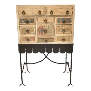 Folk Art Arte De Mexico Cabinet With Custom Iron Stand For Sale