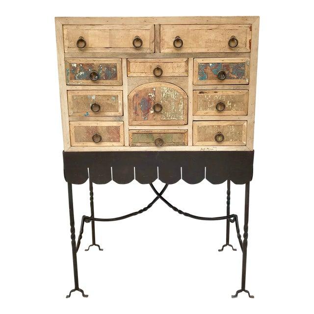 Folk Art Arte De Mexico Cabinet With Custom Iron Stand For Sale