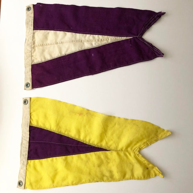 Vintage pair of nautical signal flags. Perfectly worn and aged.