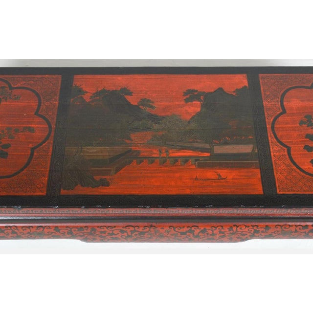 Asian Vintage Chinese Red Chinoiserie Lacquer Low Table For Sale - Image 3 of 9