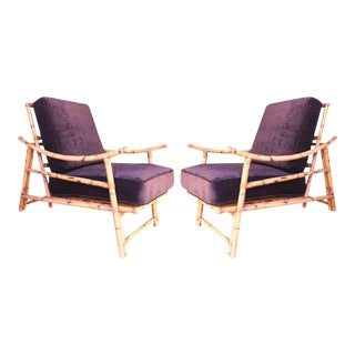 Pair of Bamboo Lounge Chairs For Sale