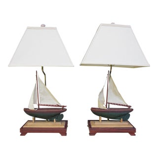 Vintage Nautical Sailboat Lamps with Shades - a Pair For Sale