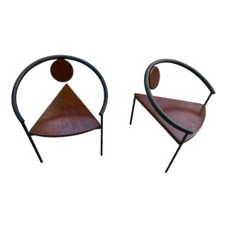 Memphis Style Three Legged Wrought Iron and Wood Chairs - a Pair For Sale