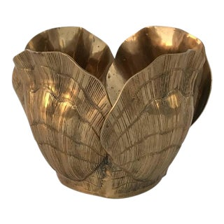 Small Patinated Brass Shell Planter