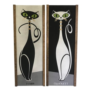 """Atomic Designs """"Moderne Cat - Day and Night Signed KymmBang Art - a Pair For Sale"""