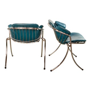 Mid-Century Italian Design Chromed Steel and Aqua Blue Leatherette Dining Chairs 'Lynn' by Gastone Rinaldi for Rima, 1970s For Sale