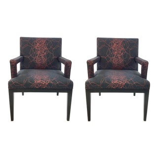 Drexel Heritage Modern Cody Arm Chairs Pair For Sale