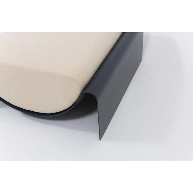 Contemporary Asa Pingree Eclipse Fiberglass Upholstered Ottoman, Midnight Blue For Sale - Image 3 of 8