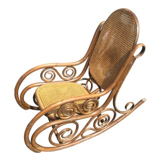 Rattan Bentwood Cane Back Rocking Chair