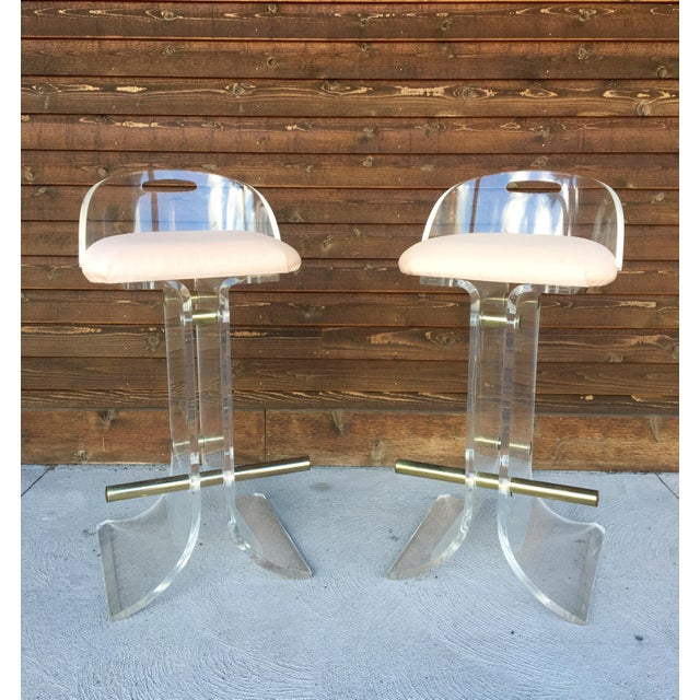 Hill Manufacturing Lucite & Brass Bar Stools - a Pair For Sale - Image 9 of 10