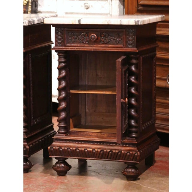 Pair of 19th Century French Carved Oak Nightstands With Marble Top For Sale - Image 9 of 13